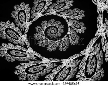 Black and white fractal. Abstract fractal. Fractal art background for creative design. Decoration for wallpaper desktop, poster, cover booklet, card. Psychedelic. Print for clothes, t-shirt. - stock photo