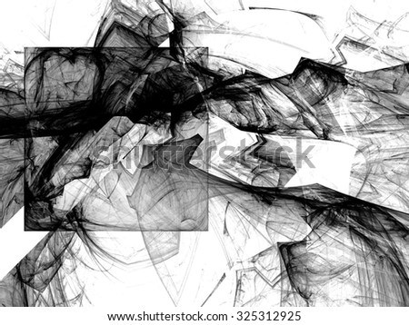 Black and white fractal.Fractal spiral. Fractal art background for creative design. Decoration for wallpaper desktop, poster, cover booklet. Abstract texture. Psychedelic. Print for clothes, t-shirt. - stock photo