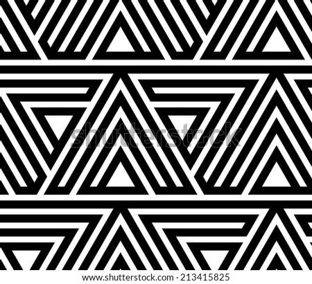 Black and White Geometric Seamless Pattern - stock photo