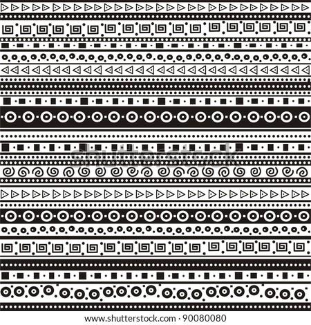 black and white geometric seamless pattern.  Illustration background. - stock photo