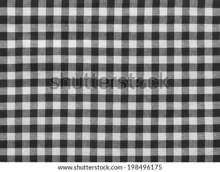 Black And White Gingham Tablecloth Texture Background, High Detailed