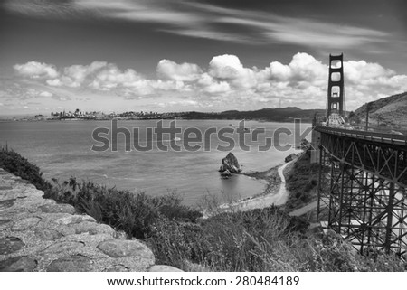 Black and White Golden Gate Bridge San Francisco California Taken From Marin County - stock photo