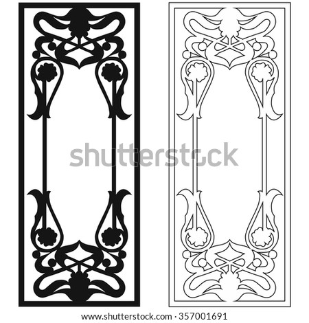 Black and white graphic ornament for doors and windows - stock photo