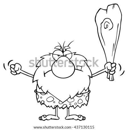 Black And White Grumpy Male Caveman Cartoon Mascot Character Holding Up A Fist And A Club. Raster Illustration Isolated On White Background - stock photo