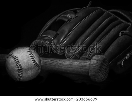black and white grunge effect low key baseball bat, mitt glove and ball with space for text - stock photo