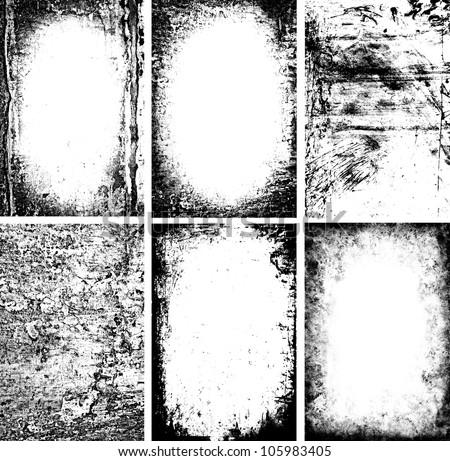 black and white grunge frames - stock photo