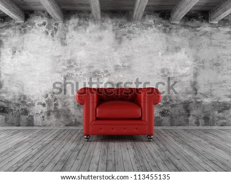 black and white grunge interior with red  classic armchair - rendering - stock photo