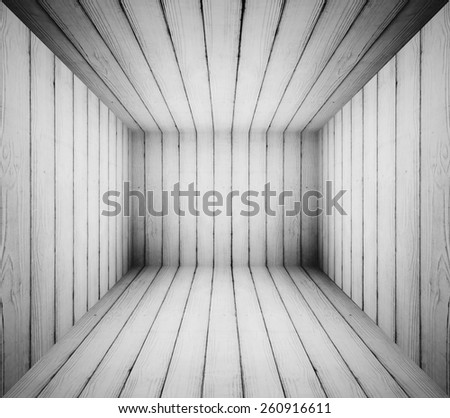 Black and white grungy wooden room for background.