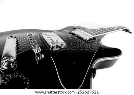 black and white guitar - stock photo