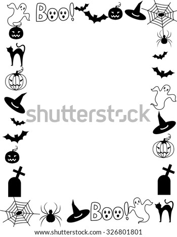 Black and white hallowen frame with various halloween themed cliparts / silhouettes