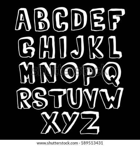 Black and white hand drawn alphabet volume