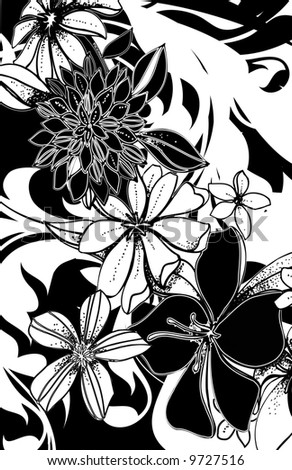 Black white handdrawn spring flowers abstract stock illustration black and white hand drawn spring flowers with abstract black and white ground mightylinksfo