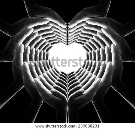 Black and white 84 hands for heart and web shape, web of love. - stock photo