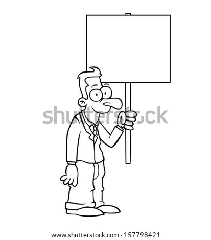 Black and white happy business man holding empty protest sign. - stock photo