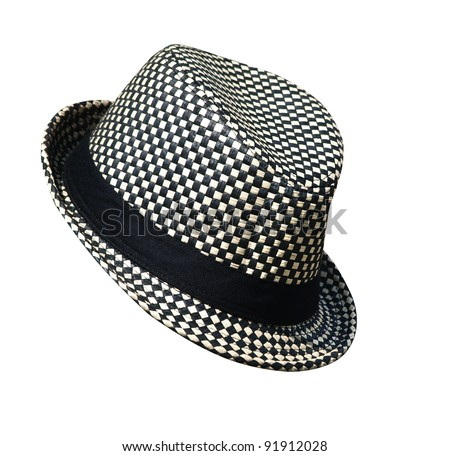 Black and White Hat isolated with clipping path - stock photo