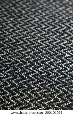 black and white herringbone fabric for background - stock photo