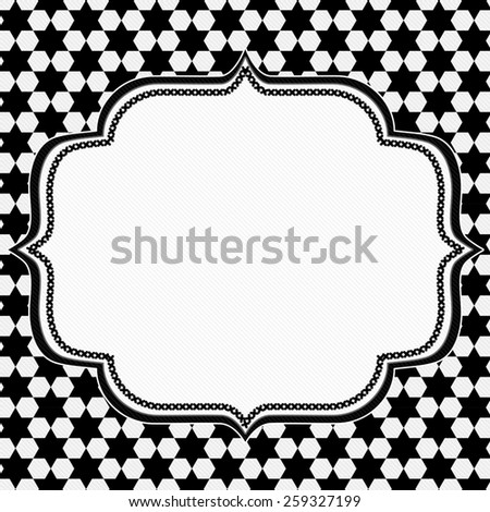 Black and White Hexagon Background with Embroidery with center for copy-space, Classic Hexagon Background - stock photo