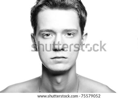 black and white, high key portrait of sad man - stock photo