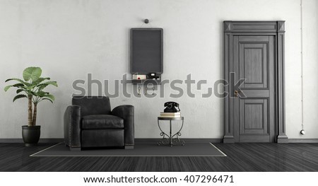 Black and white home entrance with leather armchair and blackboard on wall - 3d rendering - stock photo