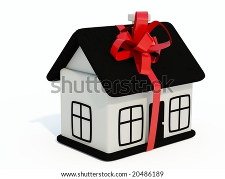 Black and white home toy with ribbon isolated on white - stock photo