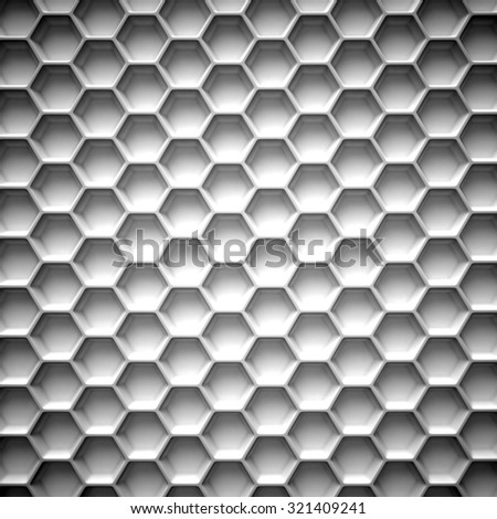 Black and white honeycomb. Abstract background. 3D illustration isolated on white background - stock photo