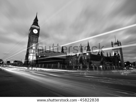 Black and White Houses of Parliament - stock photo