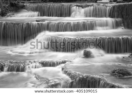 Black and White Huay Mae Kamin Waterfall, Kanchanaburi province, Thailand