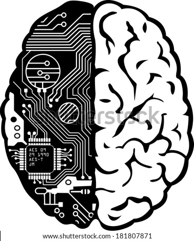 Black and White Human Brain with Computer Circuit Board Illustration - stock photo