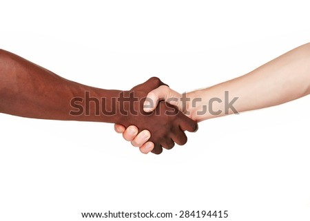 Black and white human hands in a modern handshake to show each other friendship and respect - Arm wrestling against racism. isolated on white background - stock photo
