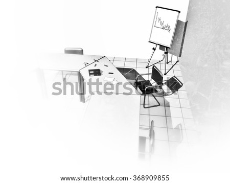 Black and white illustration of a business meeting room with some tables and chairs, as well as ring binders, documents and stationery, including a blank area