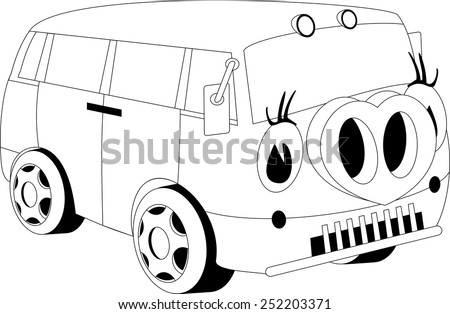 Black and white illustration of a cartoon car - stock photo