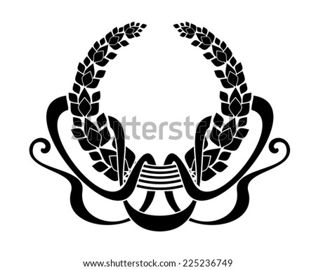 Black and white illustration of a circular foliate wreath with winding ribbons in silhouette enclosing copyspace - stock photo