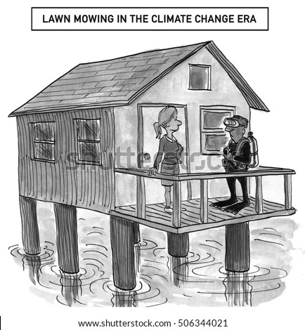 Black and white illustration of a couple living in a house on stilts above the water, 'lawn mowing in the climate change era'.
