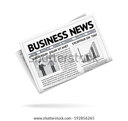 Black and white illustration of a folded newspaper presenting business news with two businessmen shaking hands and a vertical bar chart on the first page  with shadow on white background