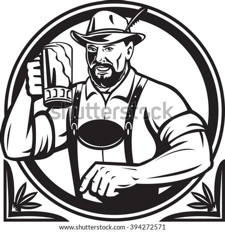 Black and white illustration of a German Bavarian beer drinker raising beer mug for Oktoberfest toast wearing lederhosen and German hat set inside circle done in retro style. - stock photo