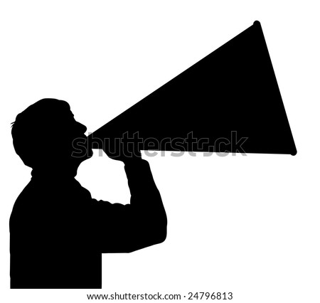 Megaphone Man Clipart of a Man Using a Megaphone