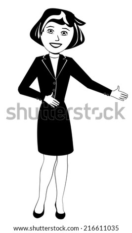 Black and White Illustration of a Woman in a Business Dress - stock photo
