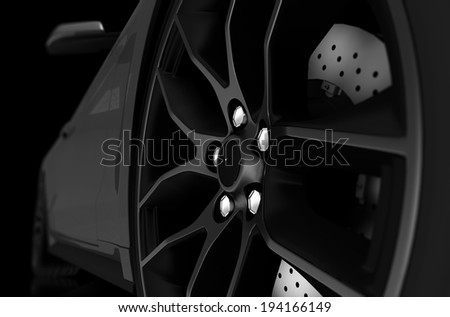 Black and White Illustration of Alloy Wheel and Sports Car. 3D Illustration. - stock photo