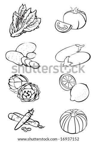 Black and white illustration of eight vegetables: lettuce - tomatoes - potatoes - eggplants - artichokes - lemons - carrots - pumpkin - stock photo