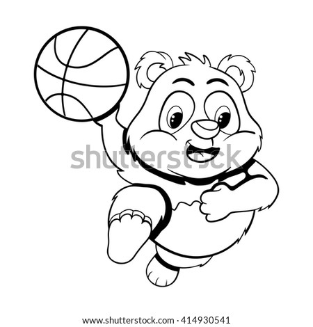 Black and white illustration of funny cartoon little panda in a jump with  ball. Raster version - stock photo