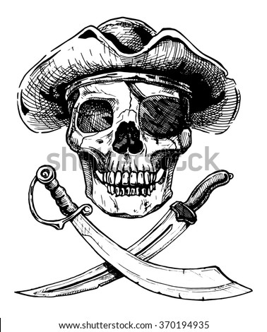 black and white illustration of  pirate skull with  two cross swords in ink hand drawn style. - stock photo
