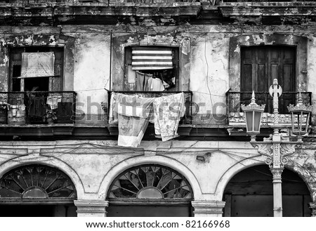 Black and white image of a crumbling building in Old Havana - stock photo