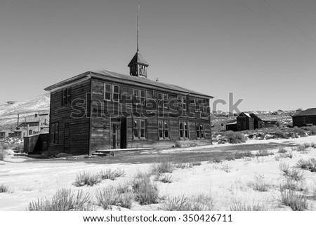 Black and white image of an old school house, Bodie, California, USA - stock photo