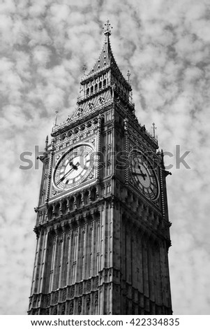 Black and white image of Big Ben of the Houses Of Parliament in Westminster, London, England, UK which was built on the site of the Royal Palace Of Westminster - stock photo