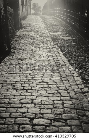 Black and white image of cobblestone street in morning light.