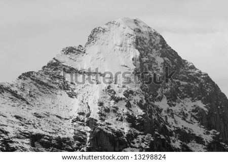 Black and white image of eiger north face, switzerland.