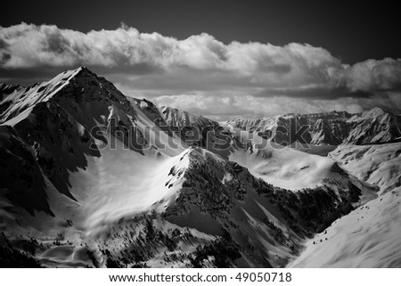 Black and white image of French Alps - stock photo