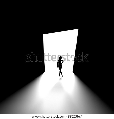 Black and white image of human figure - stock photo