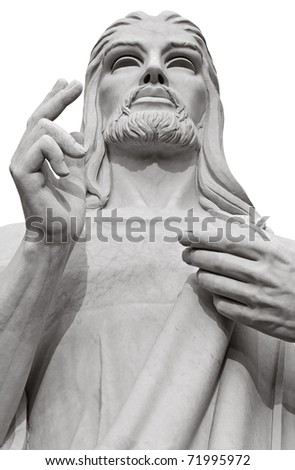 Black and white image of Jesus Christ blessing isolated on white with clipping path