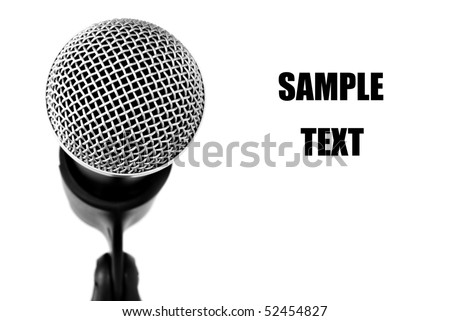 Black and white image of microphone with copy space.   Macro with shallow dof. - stock photo